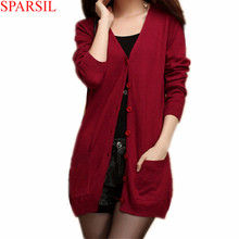 Sparsil Women's Slim Cashmere Sweater Spring Autumn V-Neck Single Breasted With Pockets Knitwear Medium Style Thin Cardigan B18(China (Mainland))