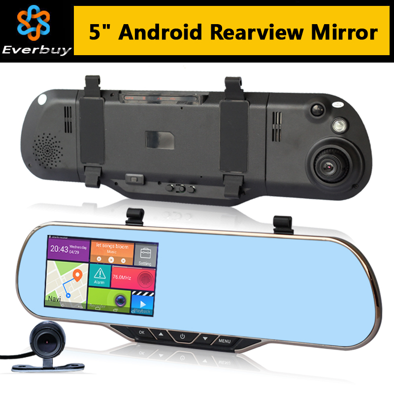 New 5 inch Touch Android Rearview Mirror Car dvrs Camera parking video recorder Car GPS navigation Rear view Built in 8GB WIFI(China (Mainland))