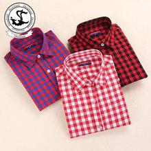 Dioufond Autumn Plaid Shirt Women Blouses Long Sleeve Blouse Women Shirts Plaid Blusas Femininas Flannel Womens Tops Fashion(China (Mainland))