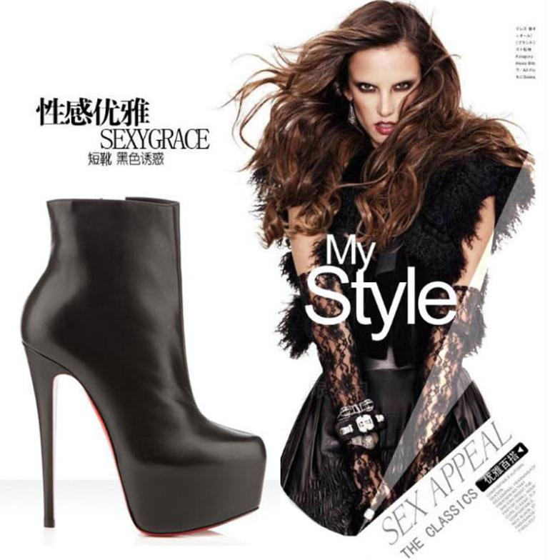 New 14cm High heels pumps Ankle red sole boots Sexy Laides High heel boots thick platform Designer women shoes brand red bottom(China (Mainland))