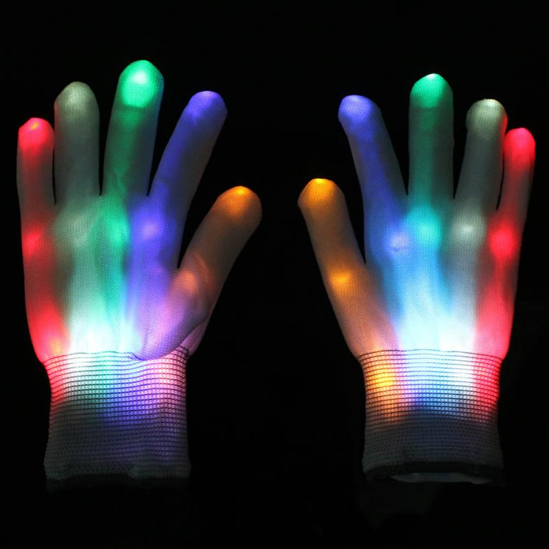 buy new 1 pair led flashing gloves colorful finger light christmas halloween. Black Bedroom Furniture Sets. Home Design Ideas