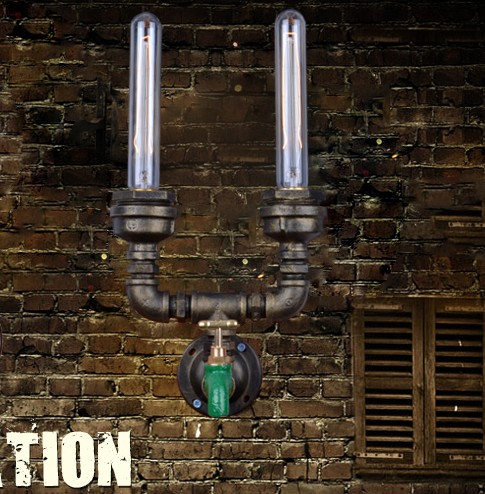 Фотография Loft Style Iron Edison Wall Sconce Creative Double Water Pipe Lamp Industrial Vintage Wall Light Fixtures For Indoor Lighting
