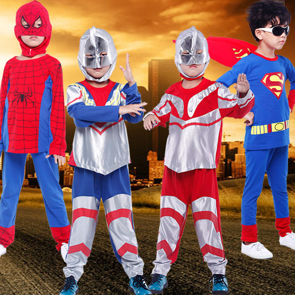 2015 Children's Clothing Sets Boys Spider-man Suit Children's Day Gift Kids Long sleeve Ultraman Costume Clothing Set(China (Mainland))