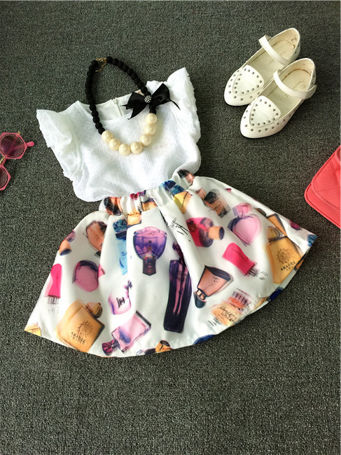High quality baby girls fashion summer clothing set White lace shirt blouse+ floral pettiskirt suit Real photo 2-8 Ys(China (Mainland))