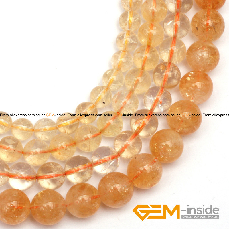 round genuine citrine beads natural stone bead strand 15 free shipping <br><br>Aliexpress