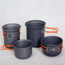 Free Shipping Non-stick Pots Pans Bowls Portable Outdoor Camping Hiking Cooking Set Cookware 2-3 pepoles(China (Mainland))