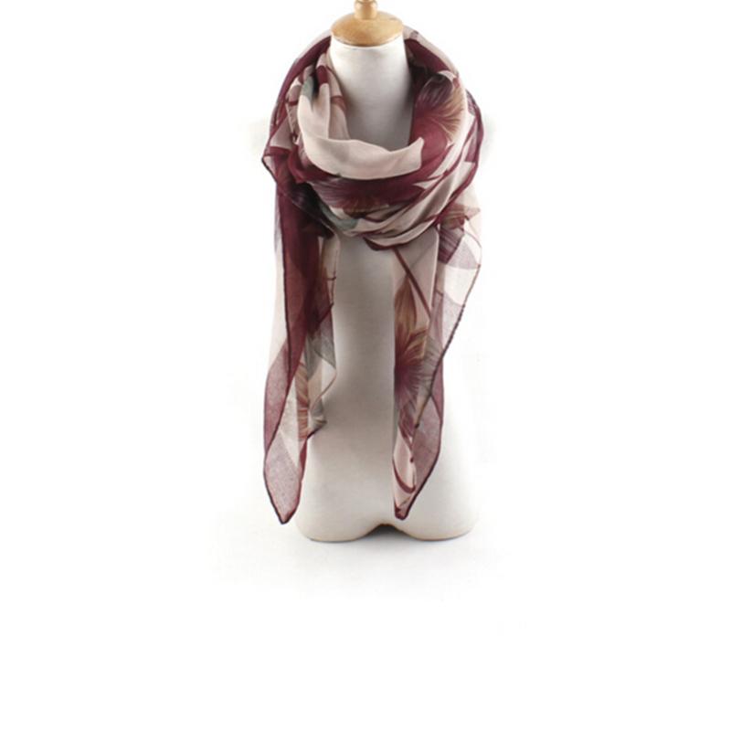 2015 Women Voile Maple Leaf Printed Scarf Shawl Wrap Large Long Multicolor Boho # 73661(China (Mainland))