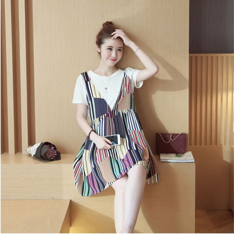 In the summer of two pregnant women shot new loose striped bag mail new dress(China (Mainland))