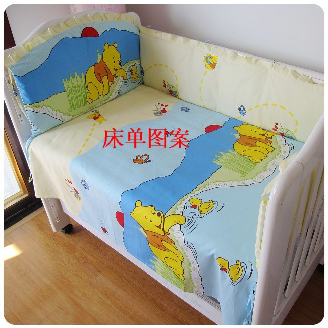 Promotion! 6PCS Winnie baby bed bumpers cot bedding set, cute pattern,100% cotton baby bedding sets (bumpers+sheet+pillow cover)<br><br>Aliexpress