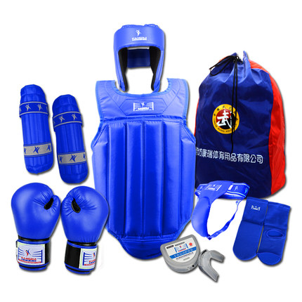 Professional 8 Pieces Sets Sanda Protective Gear Full Set Flanchard Head Protection Chest Guard Boxing Gloves(China (Mainland))