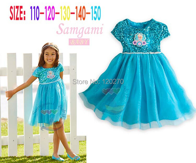 Summer Baby Girls Sequined ELSA Princess Dress Infant Toddler Kids Tutu Children's One-Piece Ball Gown - Honey Baby's store