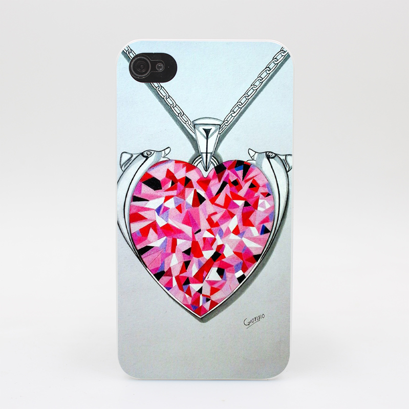 1114HY Said Heart Swarovski Jewelry Hard White Case Cover for iPhone 4 4s 5 5s 5c SE 6 6s 7 7 Plus Print(China (Mainland))