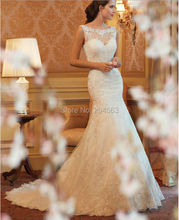 Free Shipping Latest White/Ivory Trumpet Wedding Dresses with Appliques and Beads Chapel Train Back Open