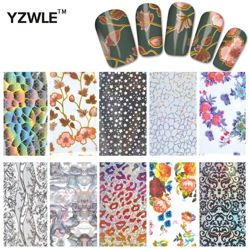 YZWLE 10 Designs Nail Art Full Tips Wraps DIY Nail Transfer Foil Decals Foils Polish Adhesive Wraps #XKT-N21(China (Mainland))