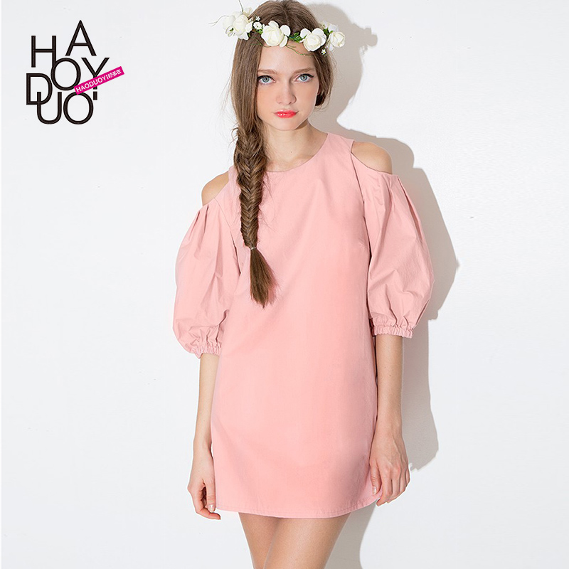 E204 Sweet preppy style cute strapless puff sleeve dress doll back zipper a loose one-piece pink dress(China (Mainland))
