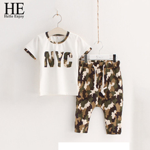 HE Hello Enjoy girls clothing sets 2016 Casual Kids clothes summer camouflage White short-sleeved + pants boys chothing set(China (Mainland))