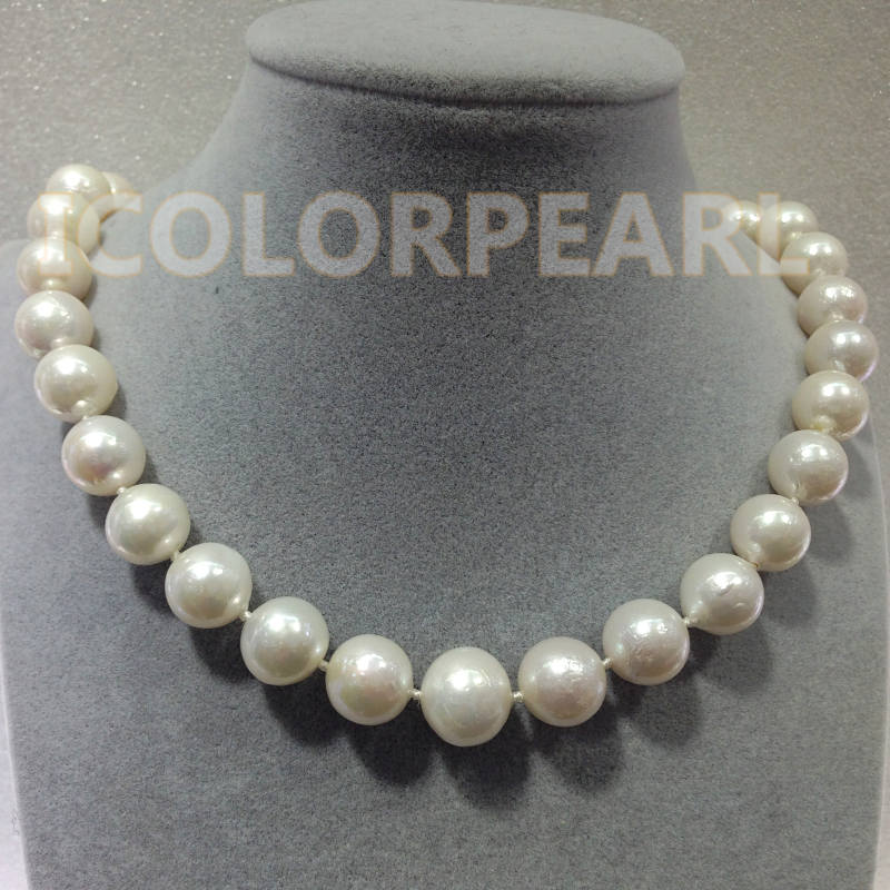 The Best Jewelry For Ladies! Big 11-13.5MM Round White Cultured Natural Freshwater Pearl Necklace.