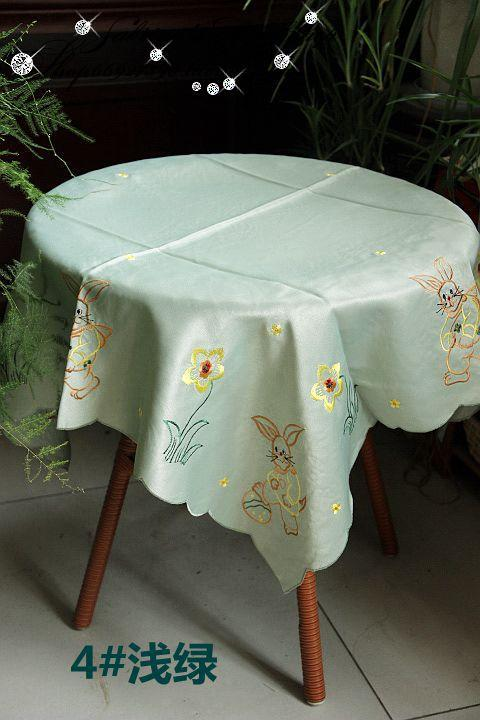 Light Green Easter Bunny embroidered tablecloth Table Cloth 85*85cm 36inch(China (Mainland))