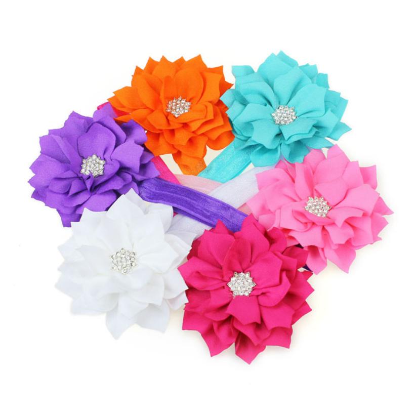 Hot Marketing 2015 Fashion 6 Pieces Babys Girls Headband Head Wear Crystal Lotus Flower Hairband Jul9(China (Mainland))