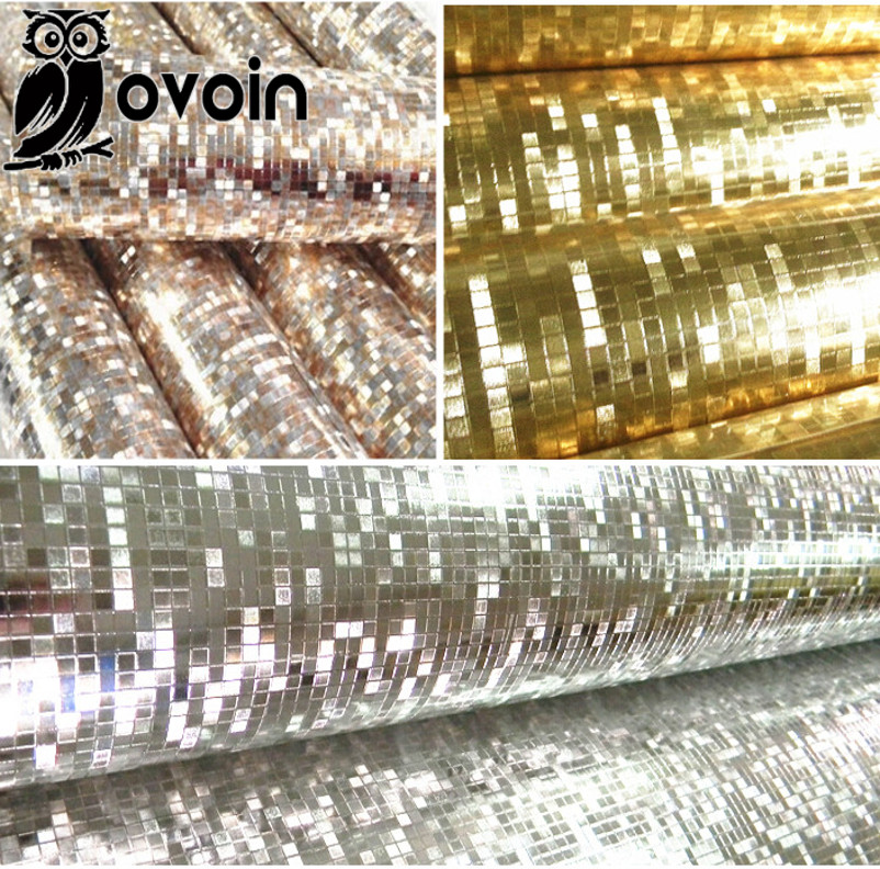 Mini mosaic Luxury glitter wallpaper background wall shiny gold foil wallpaper silver ceiling wall paper wallcovering WP038(China (Mainland))