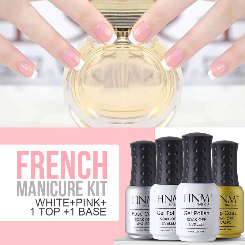 HNM 8ml Gel Nail Polish French Manicure Pink White French Manicure ...