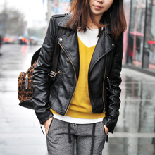 summer style 2015 New slim leather jacket Zipper Motorcycle Women Leather Jacket Pu short Clothes(China (Mainland))