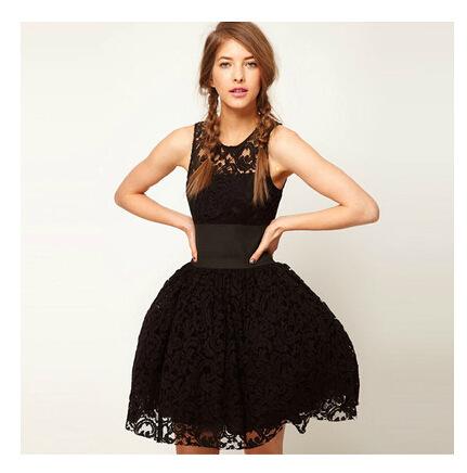 14 European and American style palace wide belt decorated British black lace vest tutu dress(China (Mainland))