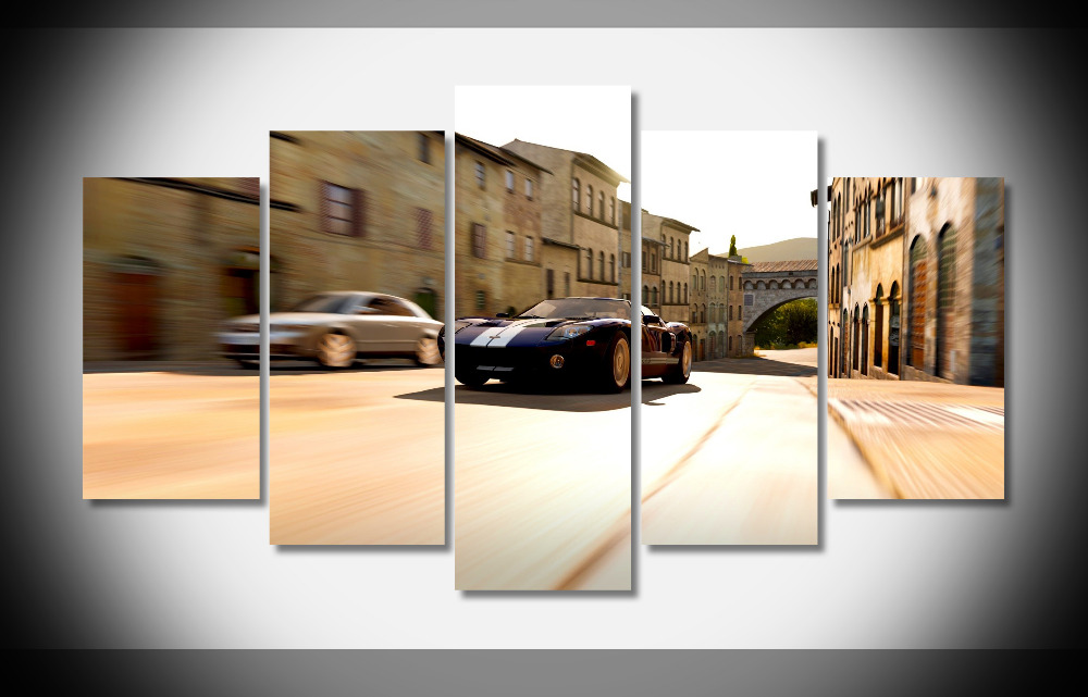 6691 forza horizon 2 ford gt black car road buildings video games Framed Gallery wrap art print home wall decor wall picture(China (Mainland))