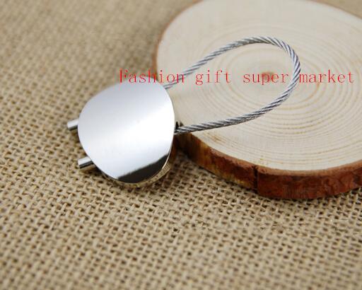 10pcs/lot Fashion Oval shape steel wire keychain business car keyring small gift key chain free Shipping(China (Mainland))