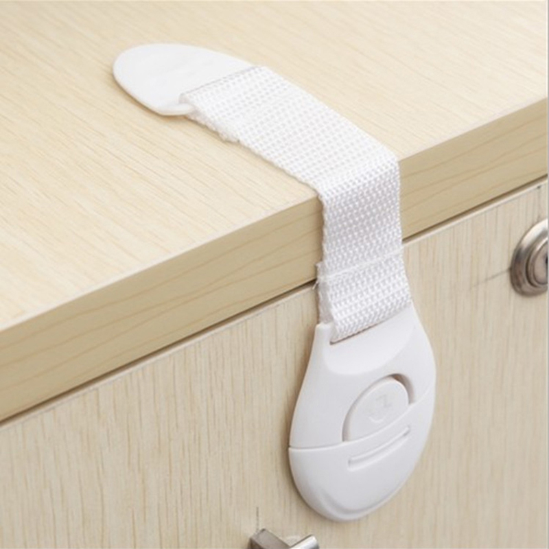 5pcs/lot Cabinet Wardrobe Drawer Door Refrigerator Toilet Safety Plastic Locks Straps for Baby Child Kids Safety Care Products(China (Mainland))