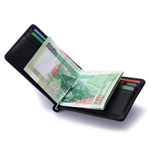 The German Modern wallet for male and female short thin metal clip stainless steel money clip Leather Wallet(China (Mainland))