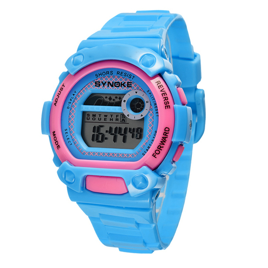 Classic Sport Casual Daily Girls Students Childrens Digital Wristwatch Full Function Alarm Stopwatch Rubber Strap Pink Blue<br><br>Aliexpress