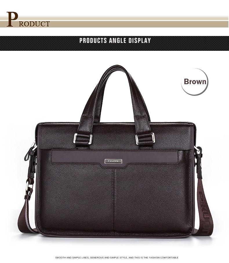 Men Briefcase Genuine Leather Black Brown Business Bag 14'' Laptop