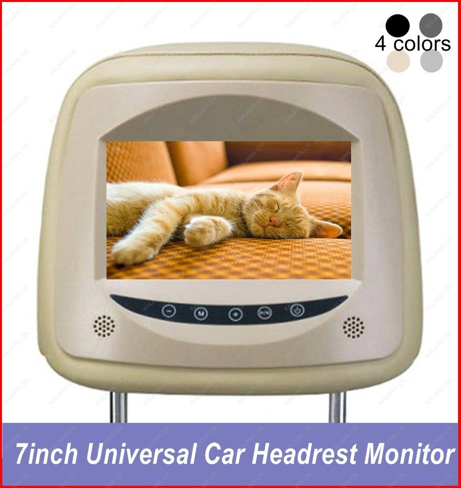 "One PC 7"" inch 16:9 TFT LCD Universal Genuine leather Car Monitor Car Headrest Monitor 100-175mm Model-701 GGG(China (Mainland))"