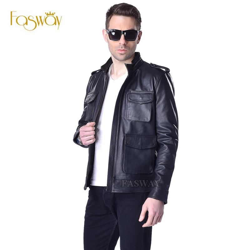 Factory Classical Alpha M65 Hunting Genuine Leather Jacket Men Real Calf Cow Skin Pockets Black Bomber Men's Coat Jaqueta ZH156(China (Mainland))