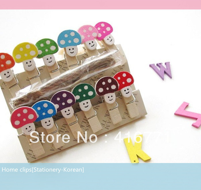 120pcs/lot Free Shipping High-quality Novelty Clips Packing Including 12pcs Clips &Hemp Rope Mushroom Design For Home Decoration(China (Mainland))