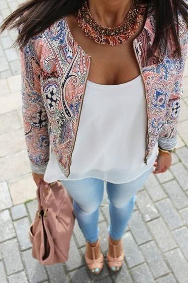 New Women Lady Casual Slim Floral Top Casual Vogue Blouse Outwear Parka Overcoat Coat Jacket