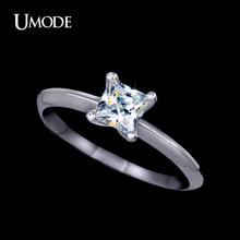 UMODE 5mm 0.63ct Princess Cut Swiss CZ Diamond Classic Brand Solitaire Rings For Women Christmas Gift 2015 UR0132(China (Mainland))