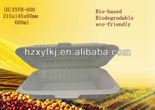 Cornstarch biodegradable take away food container lunch box 600ml(China (Mainland))
