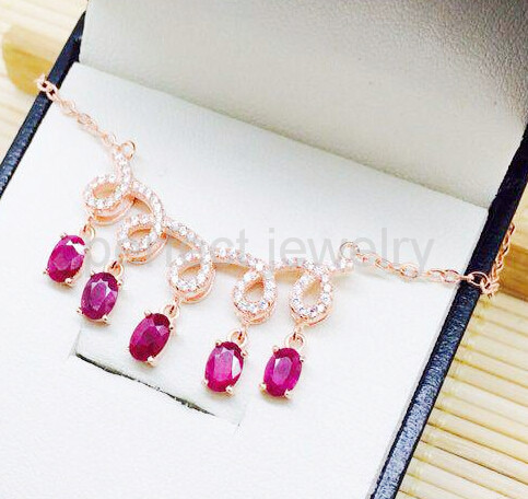 Ruby pedant Necklace Free shipping Natural real ruby 925 sterling silver Fine jewerly Wholesales Fine gems #15070808(China (Mainland))