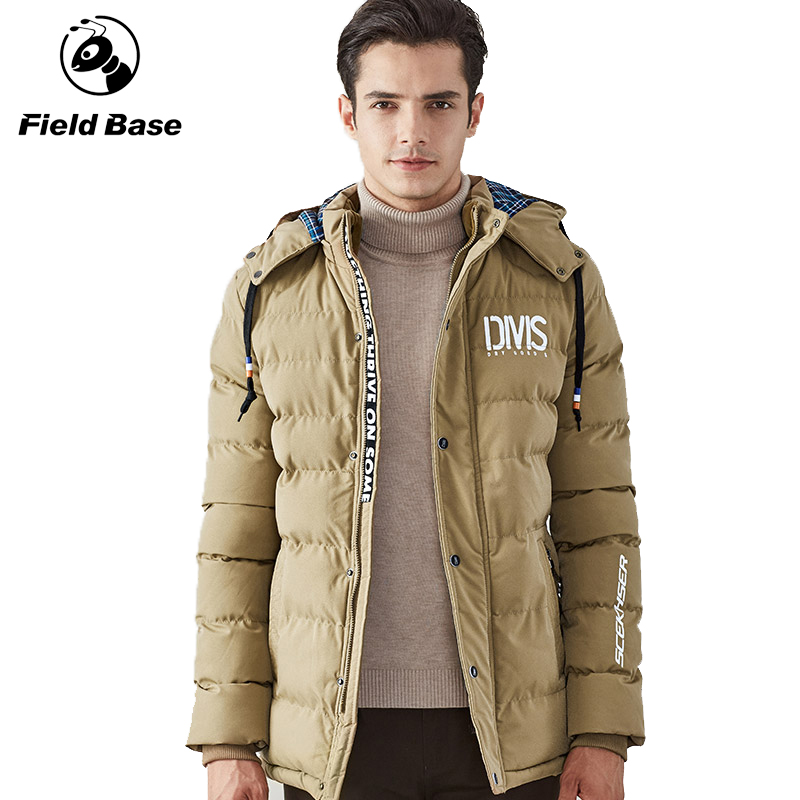 2016 FieldBase brand new men's cotton coat collar thick winter leisure male youth male slim long cotton padded jacket tide(China (Mainland))