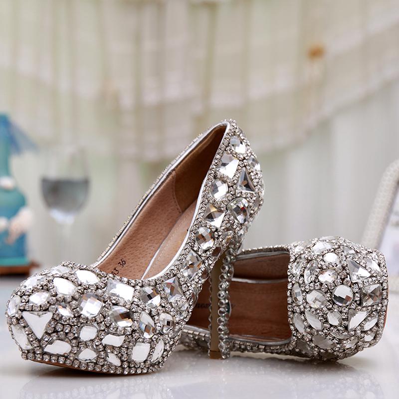 Crystal shoes wedding rhinestone bridal formal dress party ultra high heels