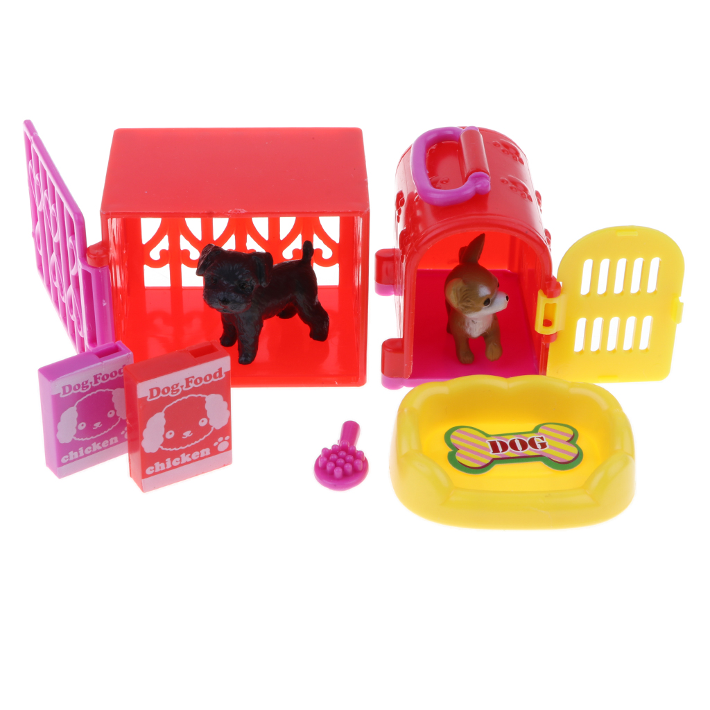 High quality Pet Shop Pretend Play Toy Gift for children include  2 cute pet models 2 pet carriers 2 box of dog food