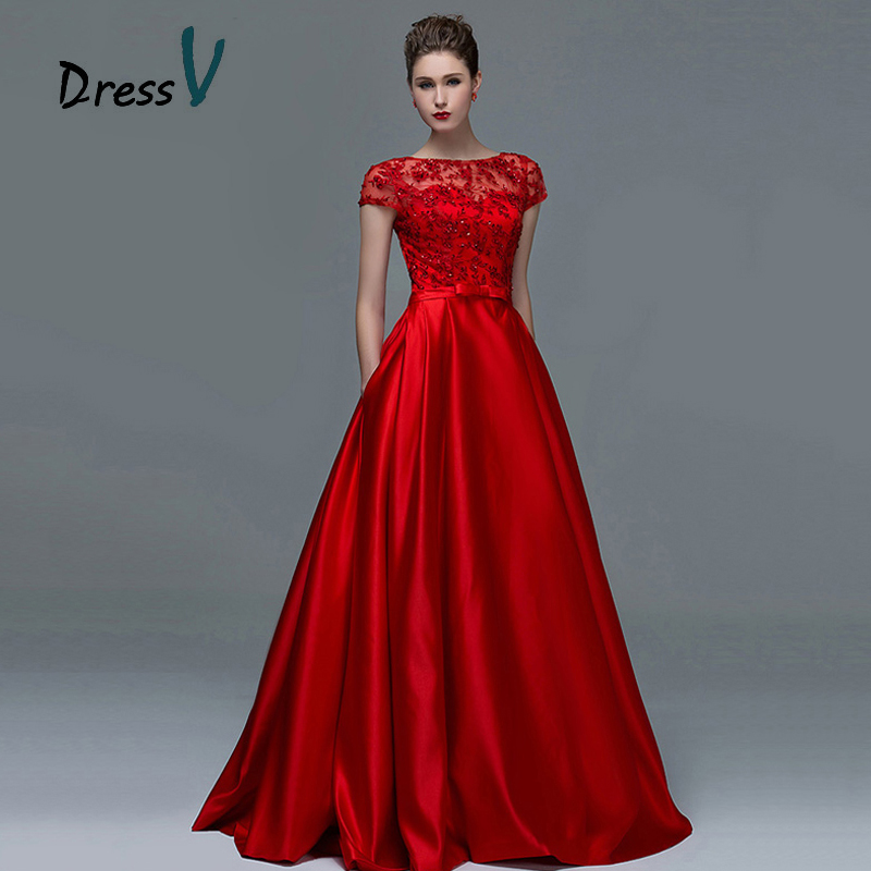 Dressv Elegant Red Lace Short Sleeves Evening Dresses 2016 Sexy A-Line Boat Neck Keyhole Long Women Formal evening dress gowns(China (Mainland))