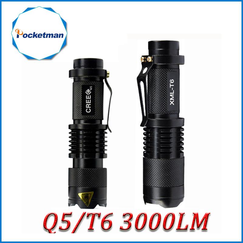 Mini Cree xml t6 q5 flashlight powerful Zoomable Tactical Flashlight waterproof led torch lanterna flash max 3000 lumens ZK93(China (Mainland))
