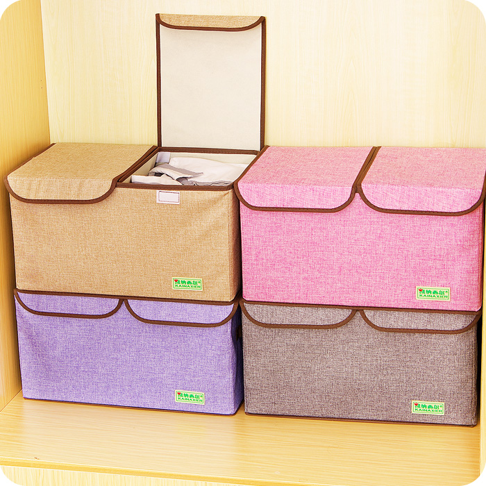 2016 New Arrival Clothing Organizer Cotton Double Cover Clothing Storage Box Covered Clothes Toys Box Folding Storage Box(China (Mainland))