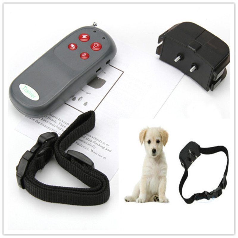 Portable No Harm Electric 4 in 1 Remote Control Small Medium Pet Dog Training Shock Collar Anti Bark Mascotas Cachorro Honden(China (Mainland))