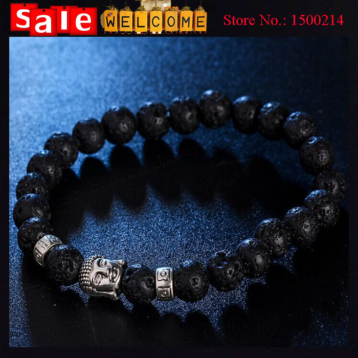 Lava Stone Silver Plated Metal Buddha Beads Bracelet Elastic Charm Rope Chain Natural Stone Bangle Bracelets for Men Women Gift<br><br>Aliexpress