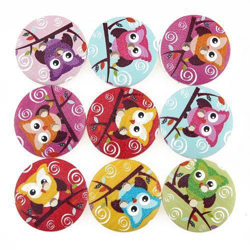 100pcs New Owl Design 2 Holes Wooden Buttons Sewing Buttons Craft Scrapbooking Clothing Accessories 111794(China (Mainland))