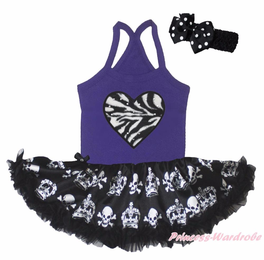 Halloween Skeleton Sprider Zebra Heart Purple Halter Neck Bodysuit Girl Skull Crown Black Baby Dress Tutu Outfit NB-24M(Hong Kong)